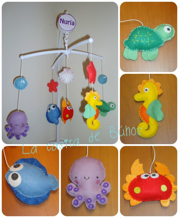 Móvil cuna mar en fieltro - Felt sea crib mobile