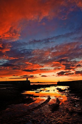 Seahouses harbour- wish I'd been there to see this dawn #Northumberland #Seahouses #Coast