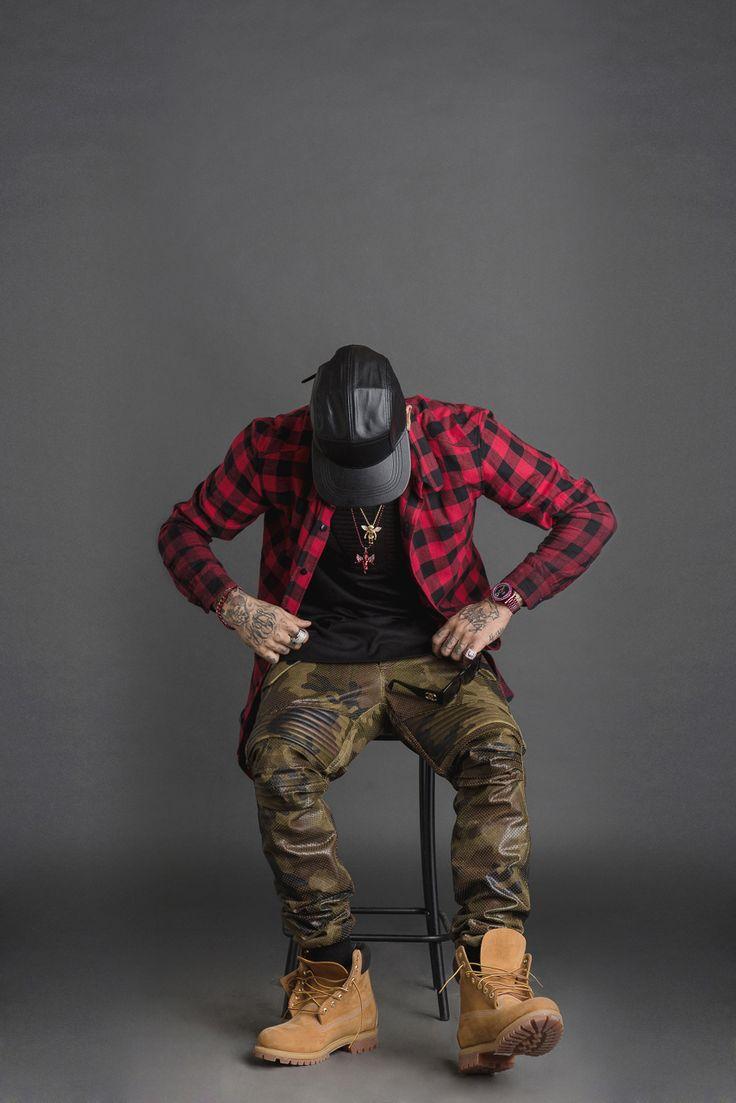 Timberland boot, check shirt and camo