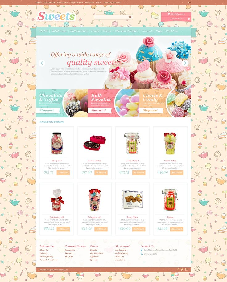 Sweet, soft color scheme and candy pattern in the background impart the store playful mouthwatering effect. Logotype is colorful and very creative. Slider shows the most delicious cakes available a...