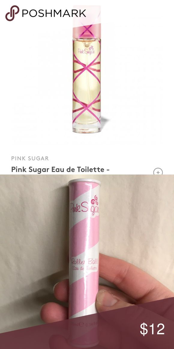 Pink Sugar Eau de Toilette Who needs a sugary treat when you've got this sweet-smelling fragrance?  It smells as playful as it looks with rich notes of cotton candy, raspberry, vanilla, licorice, caramel, musk, and more. Never overwhelming but always cheerful, the aroma delivers the perfect pick me up better than any confection could. This is a roller ball.   Brand new - travel size. Smoke free home pink Sugar Makeup