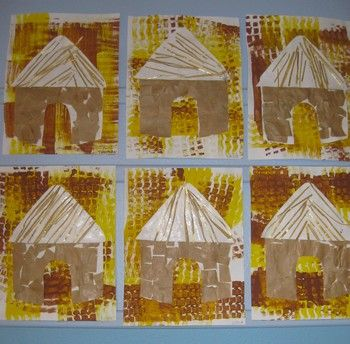 Afrikaanse hutjes maken met kleuters