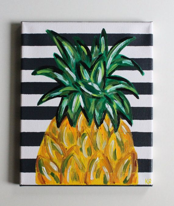 Handmade abstract textured pineapple art acrylic painting on 8x10 canvas with dark blue/gray painted stripes and shades of yellow and green pineapple. The painting is continued on the edges of the canvas as shown in the photographs. This canvas goes well with most color schemes and would be a wonderful pop of color accent in any room or gallery wall space. This canvas would be perfect for a kitchen, dining room, a bar cart area, or really anywhere in your home!  Canvas is ready to be hung…
