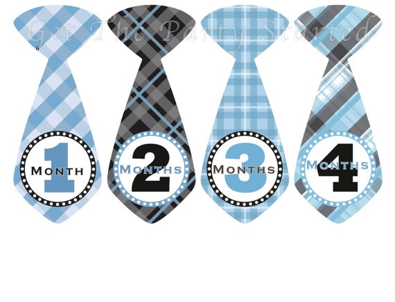Monthly Onesie Stickers Baby Boy Tie Stickers By