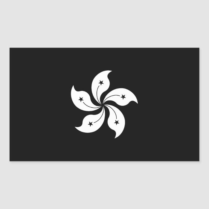 Black Hong Kong Orchid Flower Regional Flag Rectangular Sticker Zazzle Com In 2020 Orchid Flower Hong Kong Tattoo Hong Kong Flag