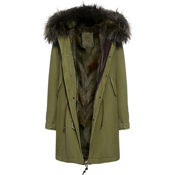 Mr & Mrs Italy - Army Patch Murmasky and Coyote  Fur Lined Knee Length... ($6,180) ❤ liked on Polyvore featuring outerwear, coats, knee length parka coats, army parka, army parka coat, green coats and fur hood coat