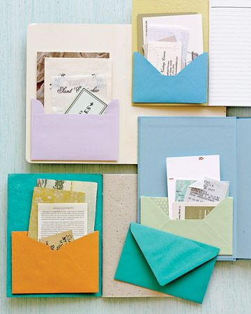 Notebook with Envelope Pockets: The Notebooks, Business Cards, Marthastewart, Organizations Ideas, Offices Spaces, Envelopes Pockets, Notebooks Covers, Greeting Cards, Martha Stewart