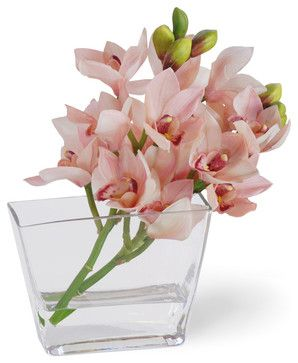 Cymbidium Orchid Flower Arrangement, Pink - Traditional - Artificial Flowers - Winward Designs