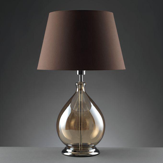 LAMPADE 'DROP' O979 Lampade Drop da tavolo in vetro trasparente, paralume in tessuto. Dimensioni. diam. 40x58 h. cm. Mascagni Casa