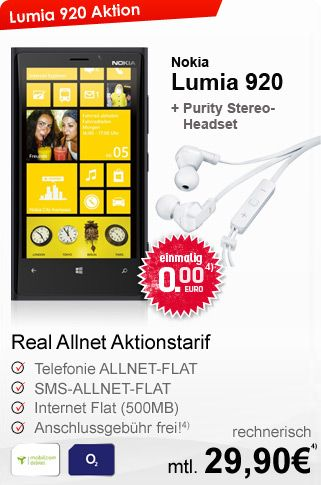 o2 Real Allnet Flat mit Nokia Lumia 920 für rechnerisch 29,90€ im Monat