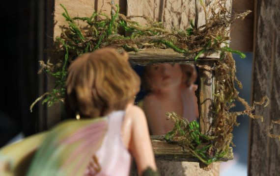Garden Fairy Mirror (Small) Handcrafted by Olive, Garden Fairy Accessories, Fairy House Accessories, Fae Accessory – Miniatures For Fairies