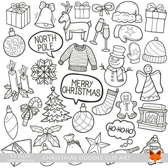 Merry Christmas Winter Holidays Concept Art Cartoon Doodle Icons Clipart Scrapbook Set