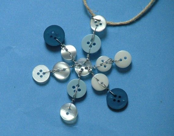 Button Snowflake Ornament....cute for a Christmas scrapbook page.