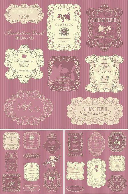 stock vector ornate borders frame01 thumb 450x677 2870 これかわいいっ!カリグラフィー風クラシックフレーム素材   Free Style