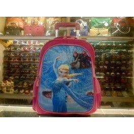 Tas Sekolah Anak Trolley Roda Import TK SD Bongkar Pasang 3D Hard Cover Frozen 2
