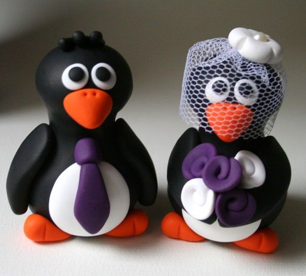 black white silver purple weddings | Black White Purple Weddingbee Gallery | Wedding DressesMy Future Husband, Wedding Cake Toppers, Cupcakes Ideas, Aw Brides, Grooms Penguins, Cake Dont Judges, Winter Wedding, Wedding Cakes, Penguins Cake Toppers
