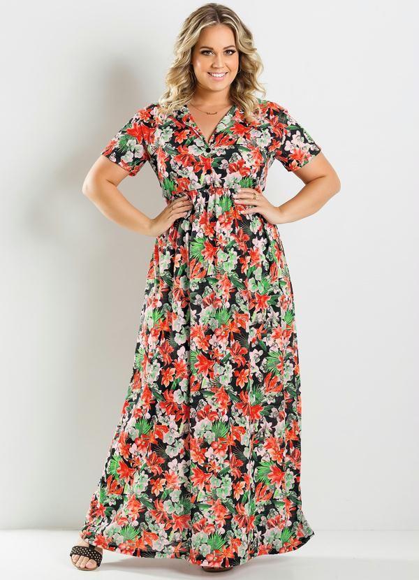 Vestido Longo Estampa Flores Plus Size - Marguerite *.*