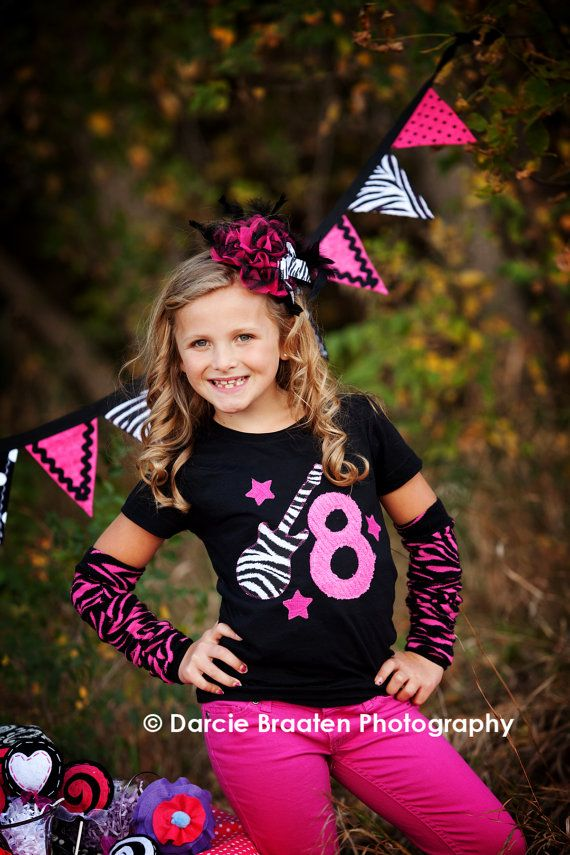 Rock Star Birthday Girl Shirt--available in short or long sleeves, tank and bodysuit styles  Loved doing this theme for Brielle- love the party banner/outfit and the idea of doing this for a party girl pic.