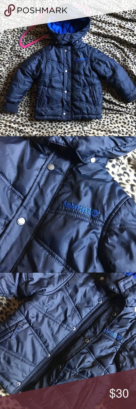 Toddler Boys Timberland Winter Coat Timberland Winter Coat Toddler Boys 24M/2T Dark blue puffer coat with zipper and snap button closure. Fleece lined. Timberland Jackets & Coats Puffers