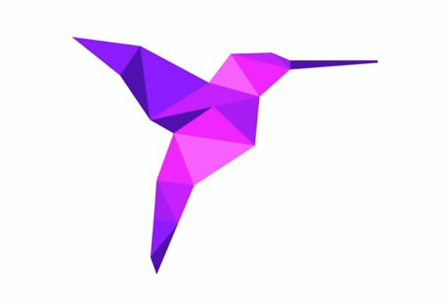 purple origami hummingbird