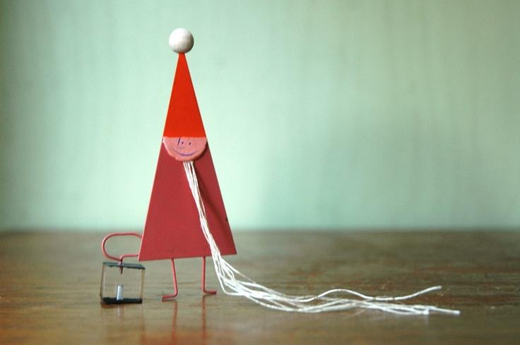 Mid Century Modern Christmas Elf Figurine - Vintage Paul Rand Era Metal And Lucite Toy