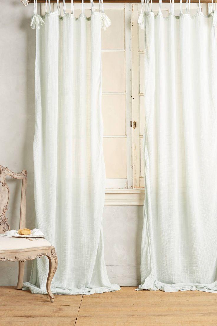 Beach window treatments - Cotton Tie Top Curtain