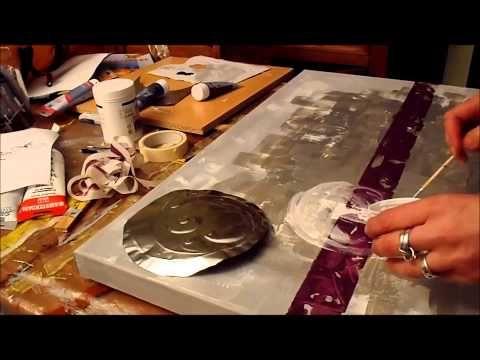 comment faire un tableau abstrait peinture acrylique speed painting #1 - YouTube