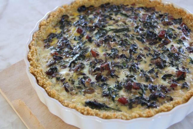 Tarte salée aux champignons, épinards et courgettes sur croûte de quinoa …