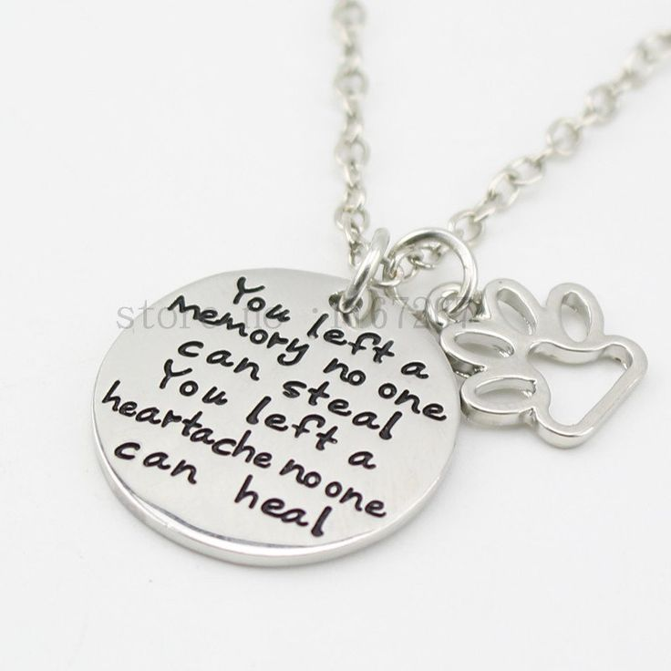 """Pet Loss Necklace """"You left a Memory no one can steal"""" Dog cat Memorial jewelry Pet Paw Print  Necklace"""