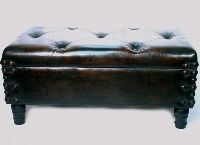 Brown Double Footstool with Storage - 39*48*89cm (TAN-SJ529) - Perkal Corporate Gifts