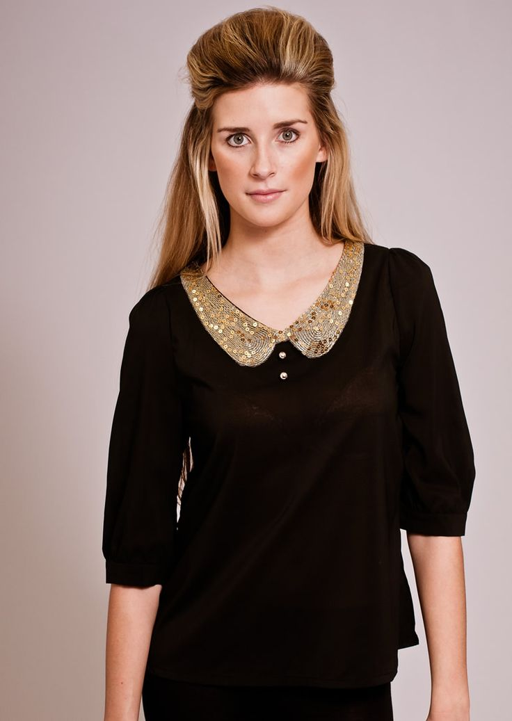 SEQUIN COLLAR TOP TO HELP YOUR EVENING SPARKLE  This collared top is a perfect example of the boy/girl trend. With a sparkly collar and cute gold buttons, you can never go wrong. (Celebrity style of: Singer, Pixie Lott)
