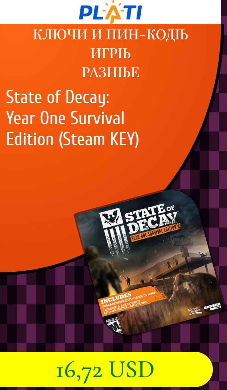 State of Decay: Year One Survival Edition (Steam KEY) Ключи и пин-коды Игры Разные