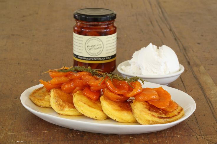 Ricotta Pancakes with Verjuice Rosemary Syrup Apricots and Crème Fraiche  - Maggie Beer