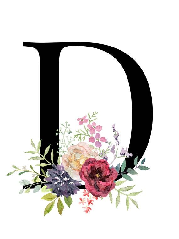 Letter D Floral Alphabet Instant Digital Download Etsy Monogram Printable Monogram Printable Letters Baby Girl Nursery Wall Art
