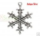 """Silver Tone Christmas Snowflake Charms Pendants 29x22mm(1-1/8""""x7/8""""), sold per packet of 30 $1.59"""