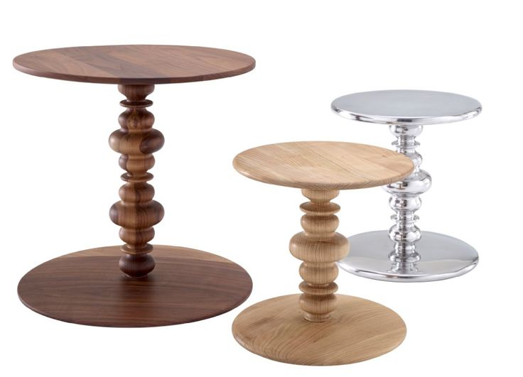 KUF occasional tables by Michael Koenig. These oriental, romantic and cosy tables have a multitude of uses. Small (dia.32cm) in wild cherry, small in cast aluminium and large (dia.47cm) in solid American walnut.