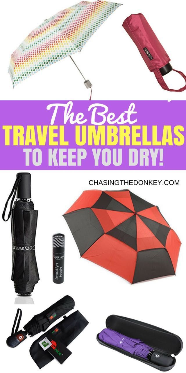 Best Travel Umbrellas To Keep You Dry in 2017: When you're traveling to a new destination, you can research the weather all you want, but you need to be prepared for the unexpected!  CLICK HERE TO READ THE REVIEWS AND FIND THE BEST BROLLY.