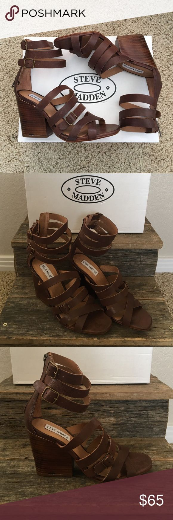 Brown leather strap sandal/heel! Beautiful chunky heal with leather straps going across the toe and up around the ankle! You can adjust the straps around the ankle and it has a zipper going up the back! Steve Madden Shoes