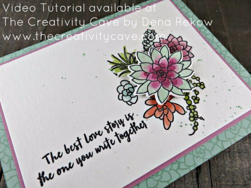 Check out the video for this project and more on my blog using Stampin Up's Oh So Succulent Bundle at www.thecreativitycave.com #stampinup #thecreativitycave #creationstationbloghop #ohsosucculent