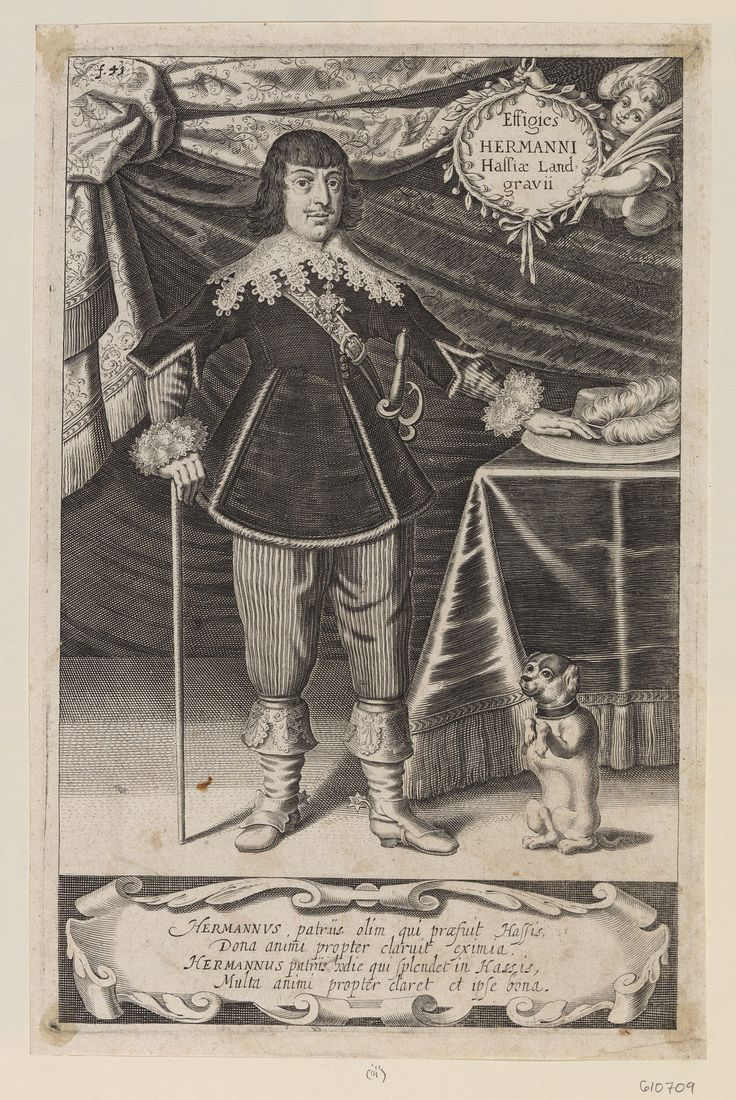 Hermann von Hessen-Rotenburg (1607-1658) / Hermann of Hesse-Rotenburg at age 31 (1638).Curled hair, lace collar, sash, doublet, and breeches. The Landgrave is pictured standing, holding a cane in right hand and with left hand resting on a plumed hat on a table to the right, with a small dog below. With Latin inscription on cartouche below. For another impression see RCIN 610708. A plate from Monumentum sepulcrale, ad Illustrissimi Celsissimique Principis ac Domini, Dn. Mauritii Hassiae…