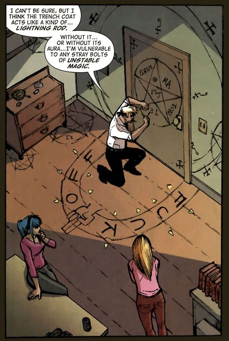 """rraaaarrl: """"Ah yes, the mystical """"FUCK OFF"""" circle. (Hellblazer #285)"""" teratocybernetics: """"I have turned 'FUCK OFF NASTY TRASH' into a house-cleaning glyph with good result."""" rootandrock: """"I just love how the feet of the dresser are considered grounding points for energy there. 'Shit. The dresser's touching the floor. BETTER CIRCLE THAT'."""""""
