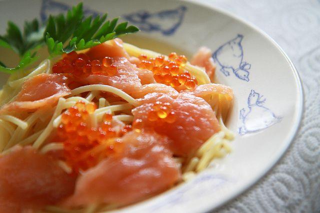 ModeliciousBites                                                                        : Salmon Caviar and Smoked Salmon on Pasta.