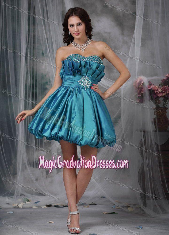 Teal Sweetheart Mini-length Beading Graduation Dresses for 8th Grade in Dalbeattie