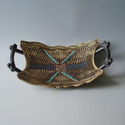 Glaze.  Albert Goldreich Pottery - wonderful platter with handles, great glaze combo!
