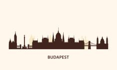 Budapest skyline silhouette vector art illustration
