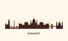 Budapest skyline silhouette vector art illustration