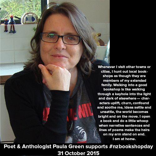 Poet & Anthologist Paula Green supports #nzbookshopday