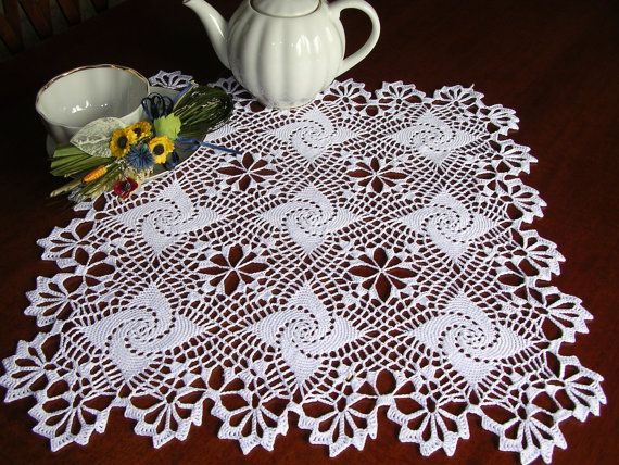 Crochet lace doily square placemat white cotton tablecloth