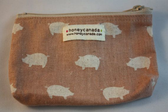 Japanese cotton fabric hand made zipper pouch pink by HoneyCanada, $10.00