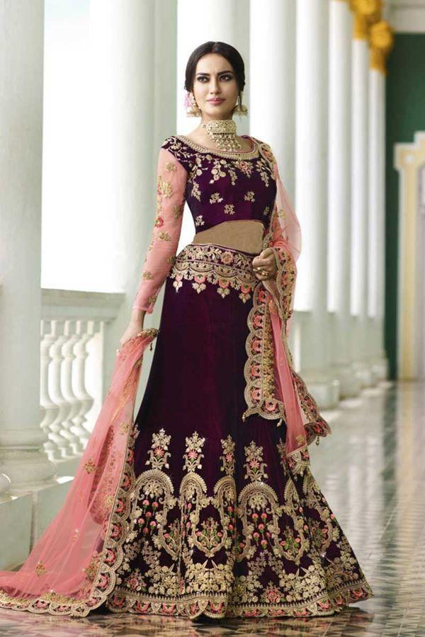 0c770df894 Grace the occasion with this upstyle magenta designer bridal lehenga choli  set featuring a velvet lehenga